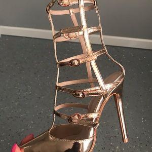 Fashion Nova Shoes - Paloma Cage Heels- Rose Gold